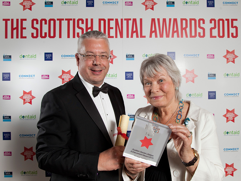 Deputy Chief Dental Officer Tom Ferris with Elizabeth Saunders, winner of the Scottish Dental Lifetime Achievement Award