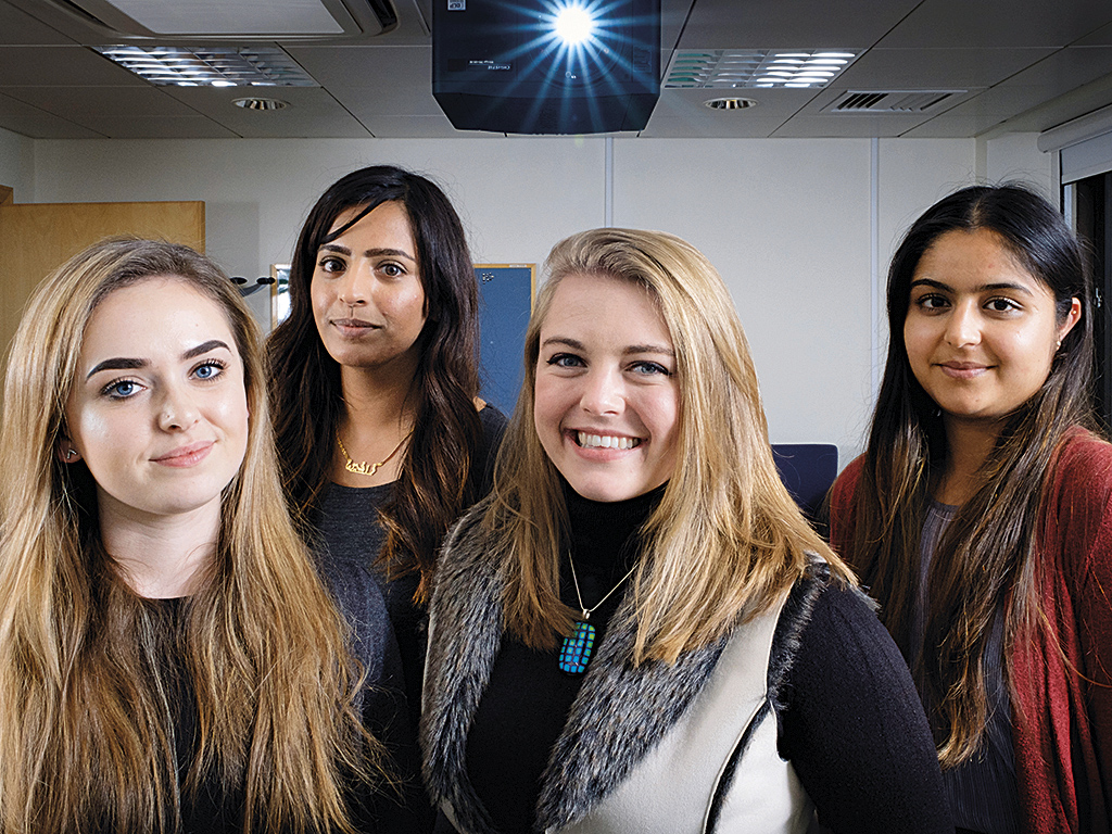(L-R) HTVT students Katie Lee, Rafeen Altaf, Mia Mortimer and Jyoti Sumel