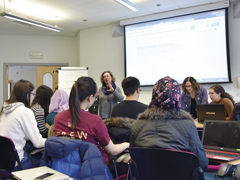 Staff and students at one of the Dundee editing events