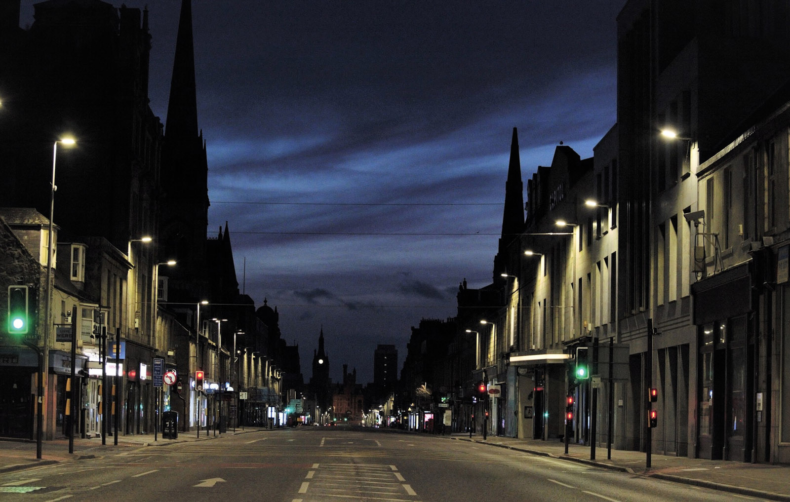 Early morning a deserted Aberdeen