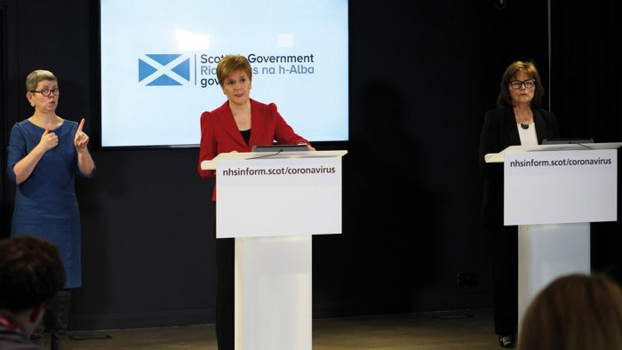 First minister, Nicola Sturgeon at a press briefing on Coronvirus